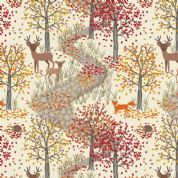 Lewis & Irene Autumn in Bluebell Wood - 5508 - Scenic Print on Cream - A246.1 - Cotton Fabric